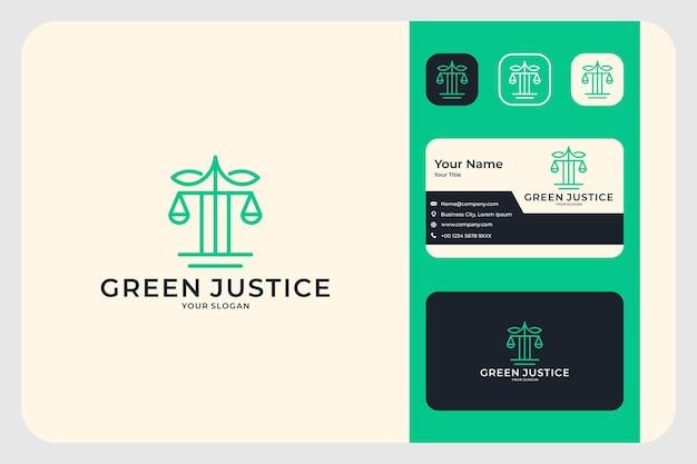 Дизайн логотипа юридической фирмы зеленое правосудие и визитная карточка