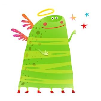 Зеленое детское чудовище много ног крылья звезды