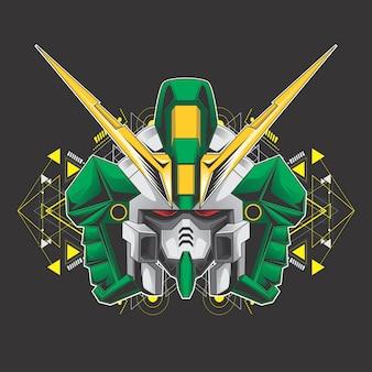 Green killer robot head