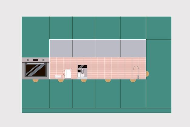 Green kitchen flat design