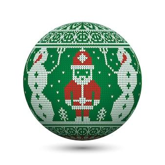 Зеленый вязаный рождественский бал на белом фоне с санта-клаусом и снеговиком на северном орнаменте. идеально подходит для поздравительных открыток или веб-баннеров.