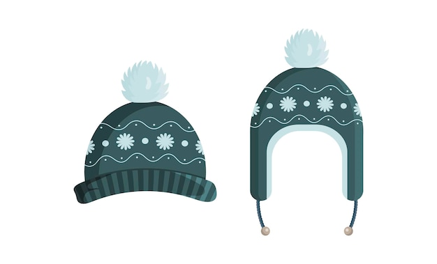 Green knitted hat with a vintage pattern illustration