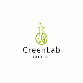 Green lab logo icon design template flat vector