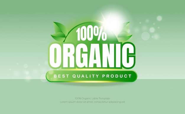 Green label organic food background template
