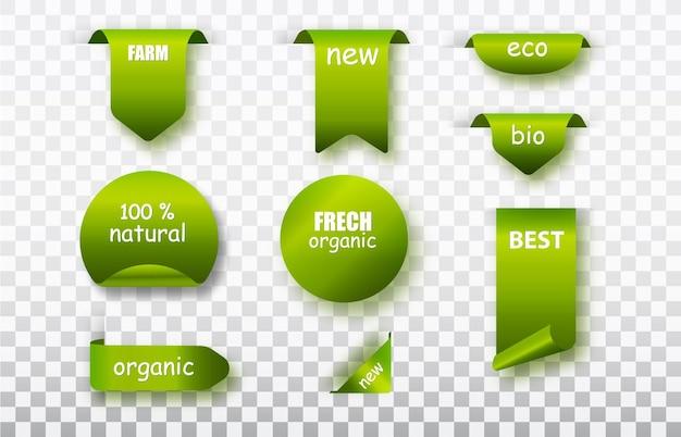 그린 라벨 태그 벡터 컬렉션입니다. 유기농 식품 라벨이 분리되었습니다. 신선한 에코 채식 제품, 완전 채식 라벨 및 건강 식품 배지.