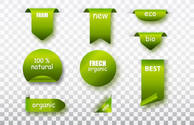 Green label tags vector collection. organic food labels isolated . fresh eco vegetarian products, vegan label and healthy foods badges.