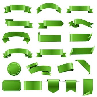 녹색 라벨 및 리본 설정 흰색 배경