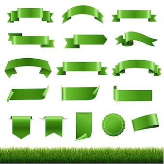 Green labels and ribbon set with green grass border