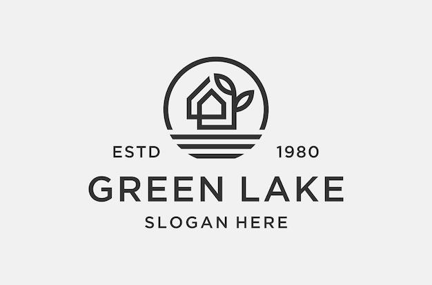 부동산 사업을 위한 그린 레이크 로고 디자인 영감.