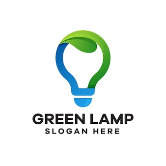 Дизайн логотипа градиент зеленая лампа