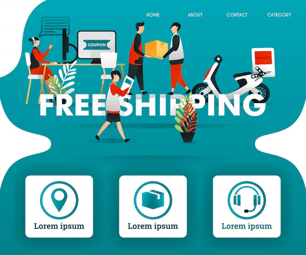 Green landing page with free shipping word