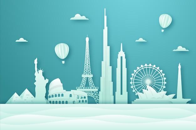 Green landmarks skyline in paper style