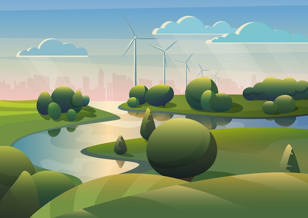 Green lands field landscape with river and wind turbines windmills