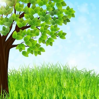 Зеленый пейзажный фон с деревом и травой