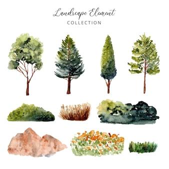녹색 풍경 요소 수채화 컬렉션
