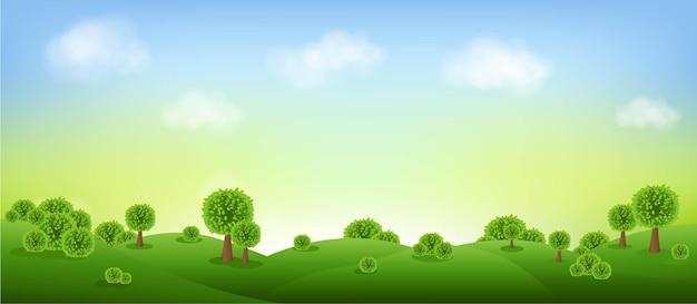 Зеленый пейзаж, изолированные с облаками и небом с градиентной сеткой