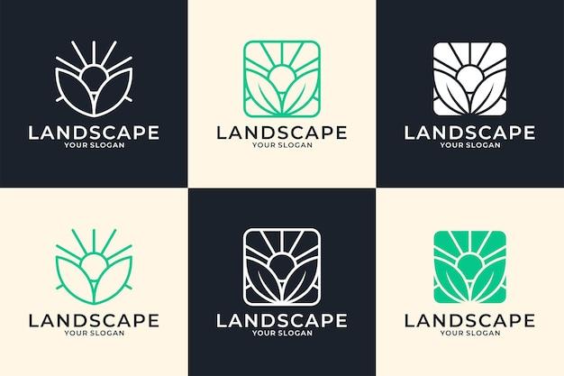 녹색 풍경 라인 아트 로고 디자인