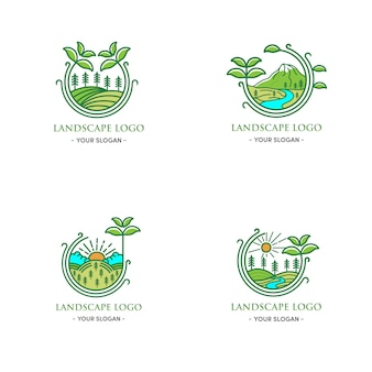 Green landscape logo design natural leaf around green circle