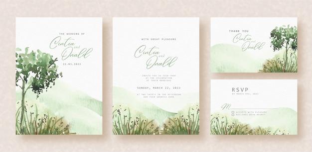 Green landscape watercolor on wedding invitation