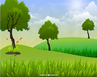 Green landscape with three trees