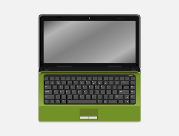 A green laptop