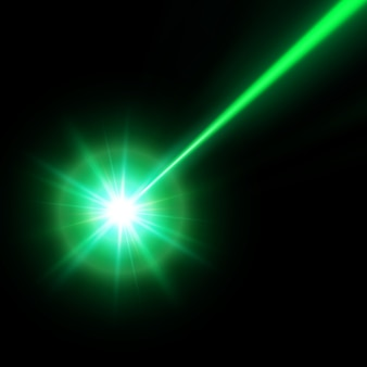 Green laser beam,  illustration