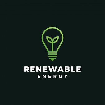 緑の葉と電球、再生可能エネルギー、生態学、自然、ランプ、アイデアのロゴのデザインテンプレート