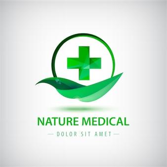緑の葉と紋章のロゴイラスト