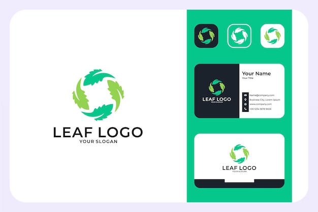 Green leaf circle logo design and business card