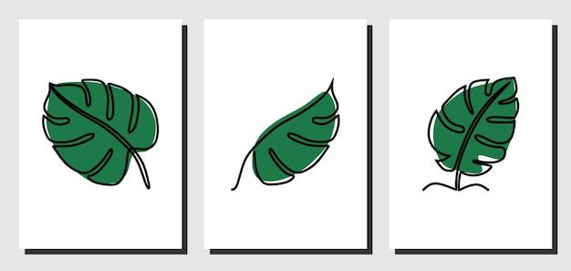 Зеленый лист непрерывной линии искусства премиум векторы