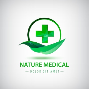 Green leaf and crest logo illustration
