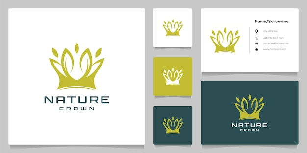 Зеленый лист корона органическая природа логотип дизайн иллюстрация с визитной карточкой
