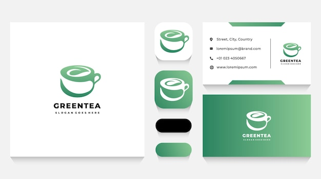 Шаблон логотипа чашки зеленого листа и визитная карточка