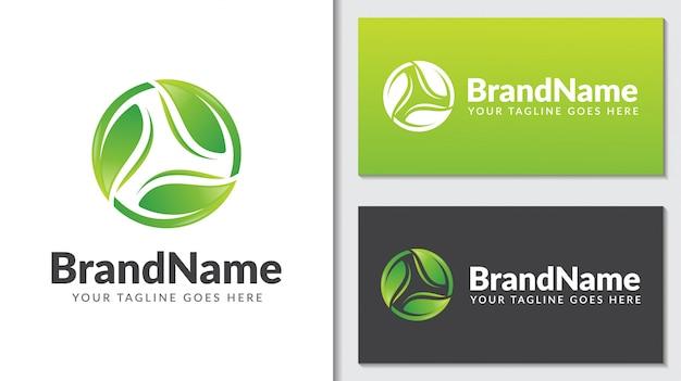 Зеленый лист экология природа концепция логотип icontemplate