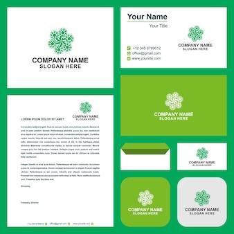 Зеленый лист экологии вектор эмблема и визитная карточка