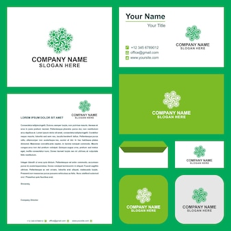 Green leaf ecology vector emblem and business card