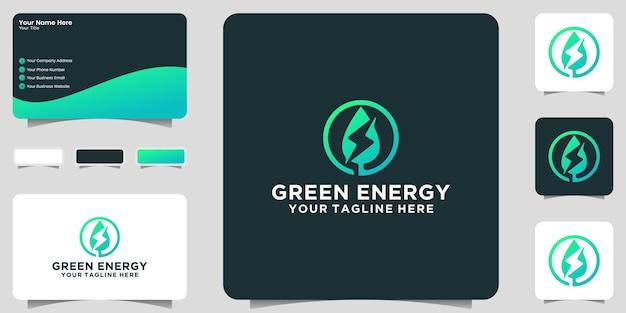 녹색 잎 에너지 로고 및 명함 영감