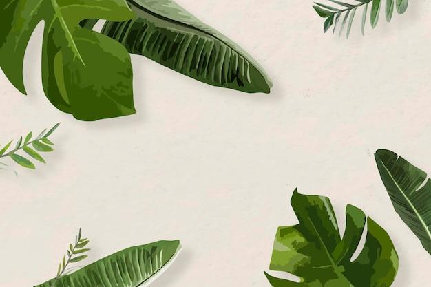 Green leaf frame vector exotic border, banana leaf