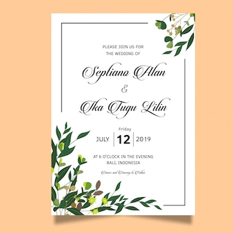 Green leaf frame wedding invitation card