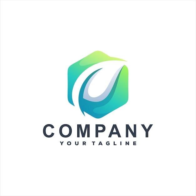 Дизайн логотипа градиента зеленого листа