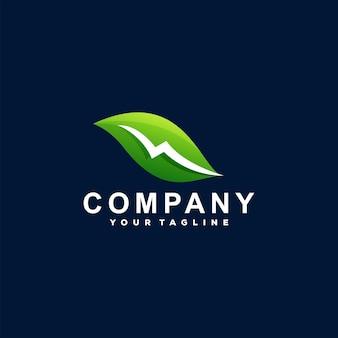 Шаблон логотипа градиента зеленого листа
