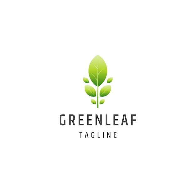 녹색 잎 그라데이션 자연 로고 아이콘 디자인 서식 파일 평면 벡터