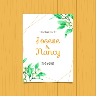Green leaf  hand drawn wedding card template