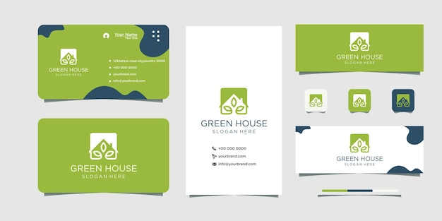 Green leaf and house logo business card