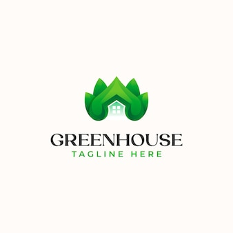 Green leaf house logo template isolated