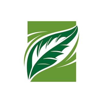 녹색 잎 그림 벡터 로고 디자인 영감 녹색