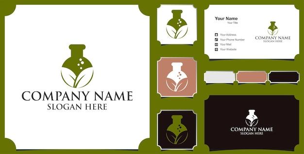 緑の葉ラボロゴイノベーションベクトルデザインと名刺