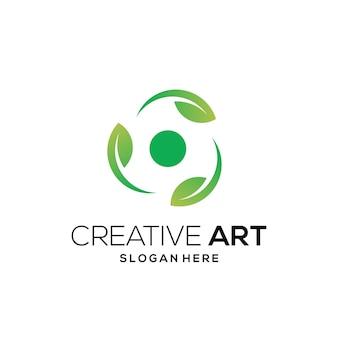 Зеленый лист логотип красочный современный градиент