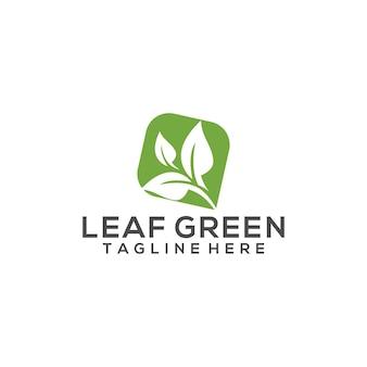 緑の葉のロゴの概念ベクトル有機ロゴテンプレート