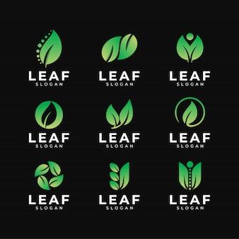 緑の葉のロゴのデザインテンプレート